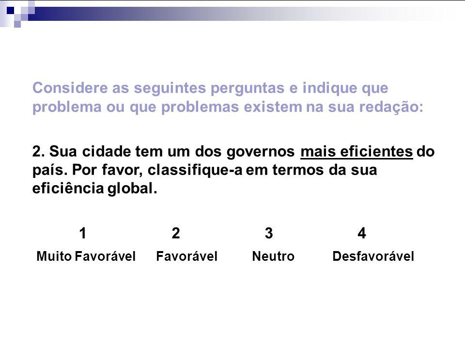 Considere as seguintes perguntas e indique que problema ou que problemas existem na sua redação: 2. Sua cidade tem um dos governos mais eficientes do
