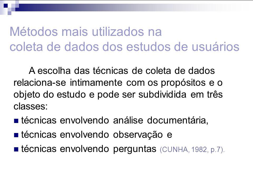 Análise de conteúdo Análise de citações Documentos de biblioteca Diários Técnicas envolvendo análise documentária:
