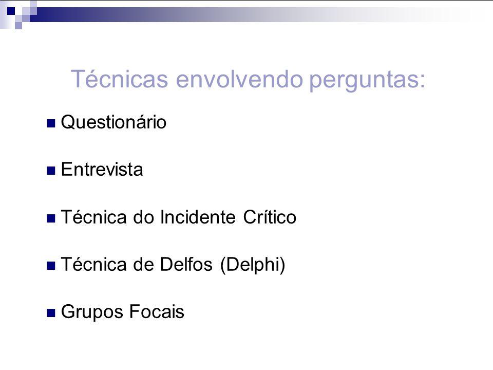 Questionário Entrevista Técnica do Incidente Crítico Técnica de Delfos (Delphi) Grupos Focais Técnicas envolvendo perguntas: