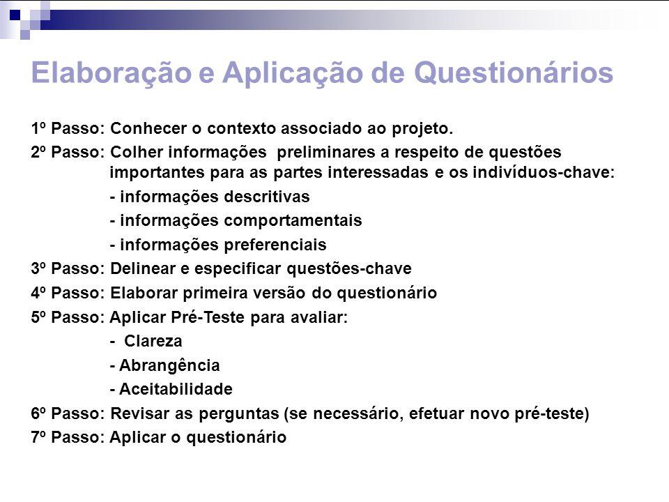 Elaboração e Aplicação de Questionários 1º Passo: Conhecer o contexto associado ao projeto. 2º Passo: Colher informações preliminares a respeito de qu