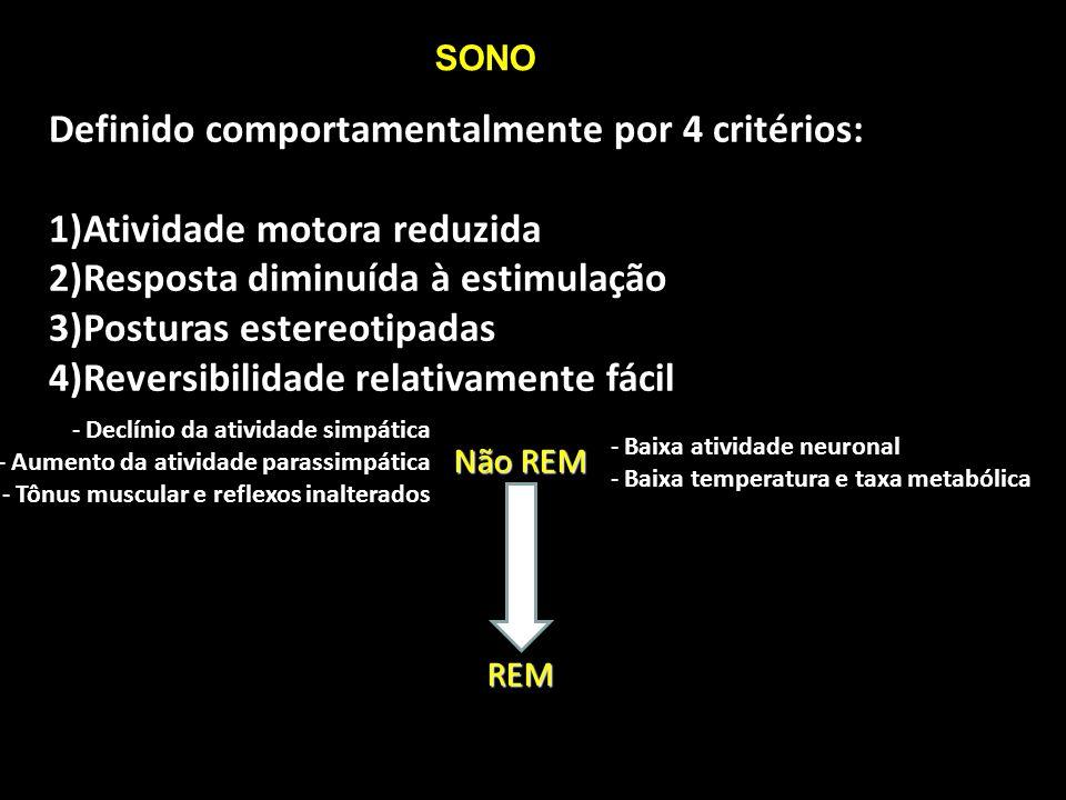 Definido comportamentalmente por 4 critérios: 1)Atividade motora reduzida 2)Resposta diminuída à estimulação 3)Posturas estereotipadas 4)Reversibilida