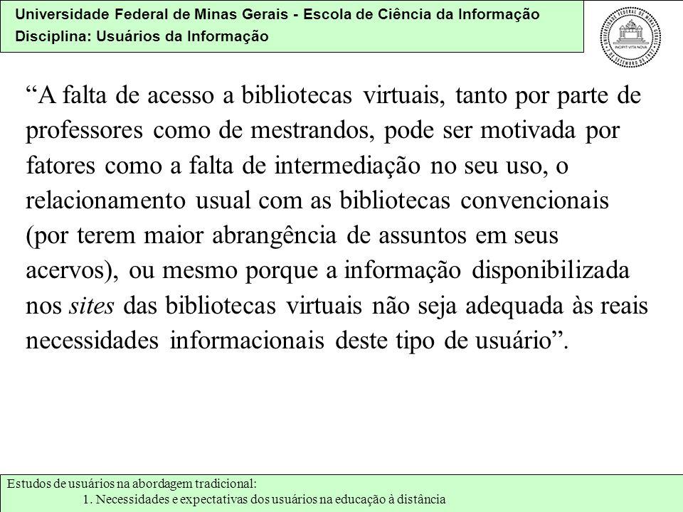 Universidade Federal de Minas Gerais - Escola de Ciência da Informação Disciplina: Usuários da Informação A falta de acesso a bibliotecas virtuais, ta