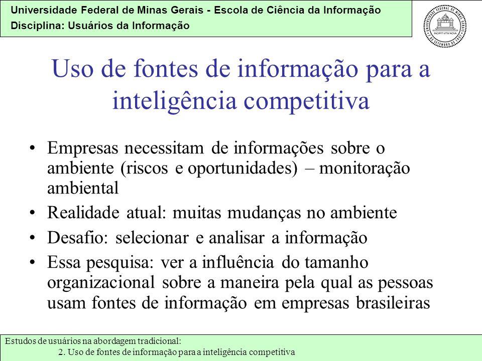 Universidade Federal de Minas Gerais - Escola de Ciência da Informação Disciplina: Usuários da Informação Uso de fontes de informação para a inteligên