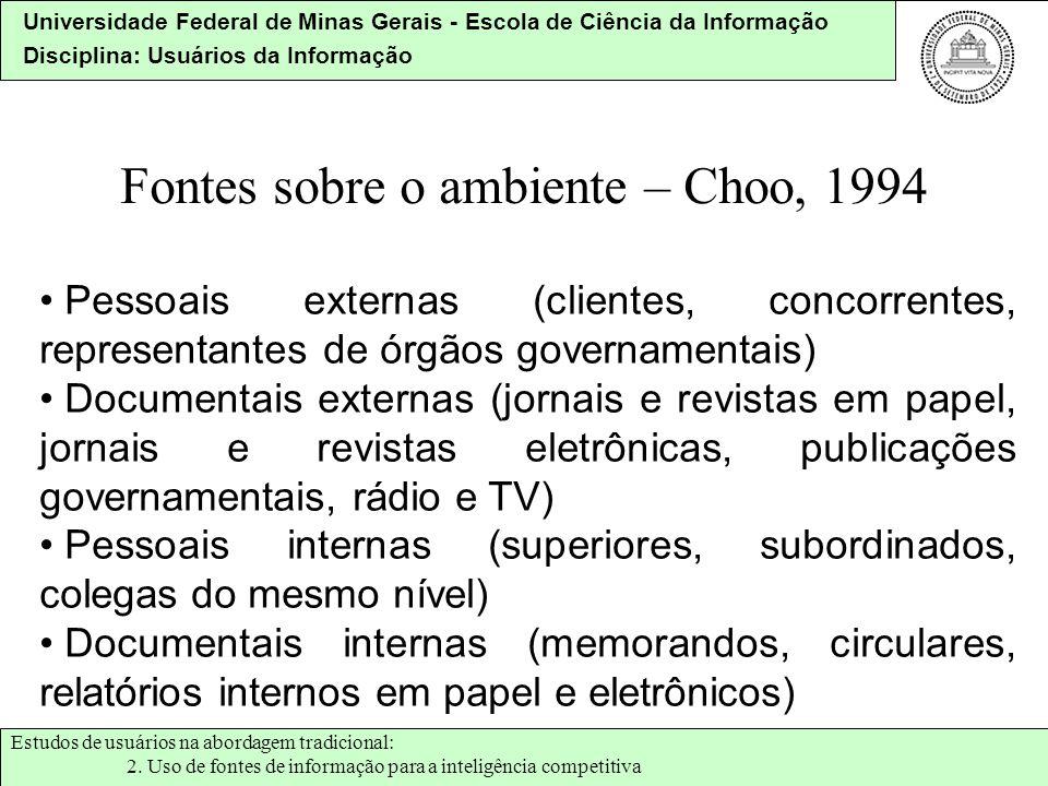 Universidade Federal de Minas Gerais - Escola de Ciência da Informação Disciplina: Usuários da Informação Fontes sobre o ambiente – Choo, 1994 Pessoai