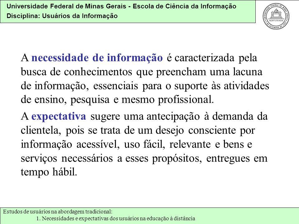 Universidade Federal de Minas Gerais - Escola de Ciência da Informação Disciplina: Usuários da Informação A necessidade de informação é caracterizada