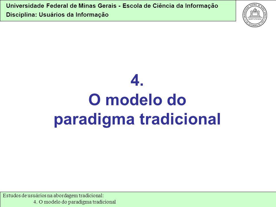 Universidade Federal de Minas Gerais - Escola de Ciência da Informação Disciplina: Usuários da Informação 4. O modelo do paradigma tradicional Estudos