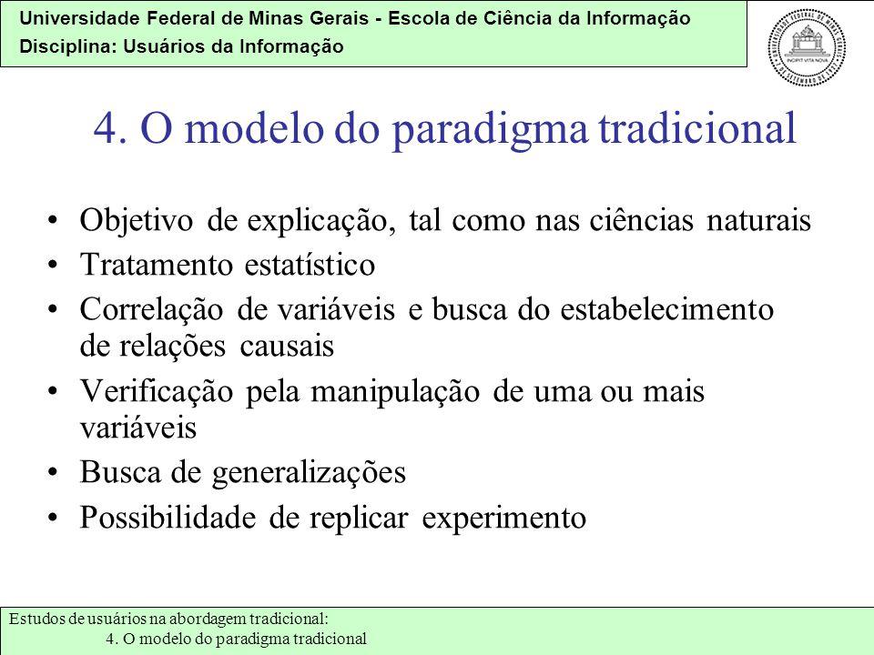 Universidade Federal de Minas Gerais - Escola de Ciência da Informação Disciplina: Usuários da Informação 4. O modelo do paradigma tradicional Objetiv