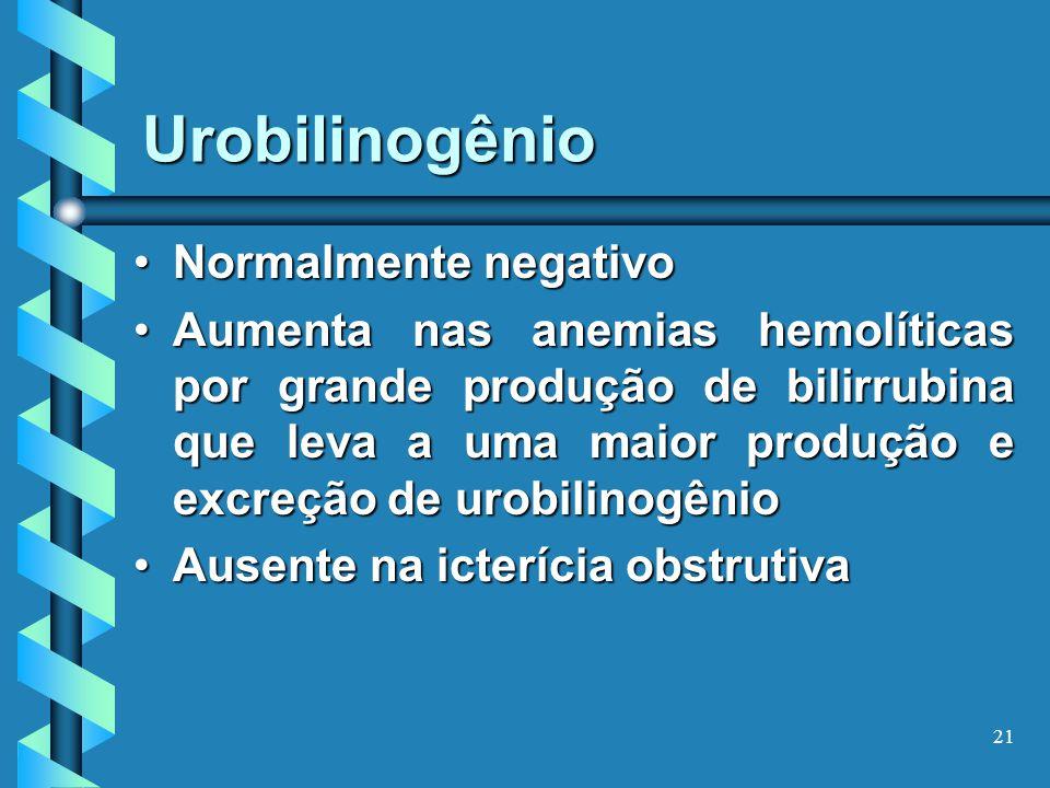 21 Urobilinogênio Normalmente negativoNormalmente negativo Aumenta nas anemias hemolíticas por grande produção de bilirrubina que leva a uma maior produção e excreção de urobilinogênioAumenta nas anemias hemolíticas por grande produção de bilirrubina que leva a uma maior produção e excreção de urobilinogênio Ausente na icterícia obstrutivaAusente na icterícia obstrutiva