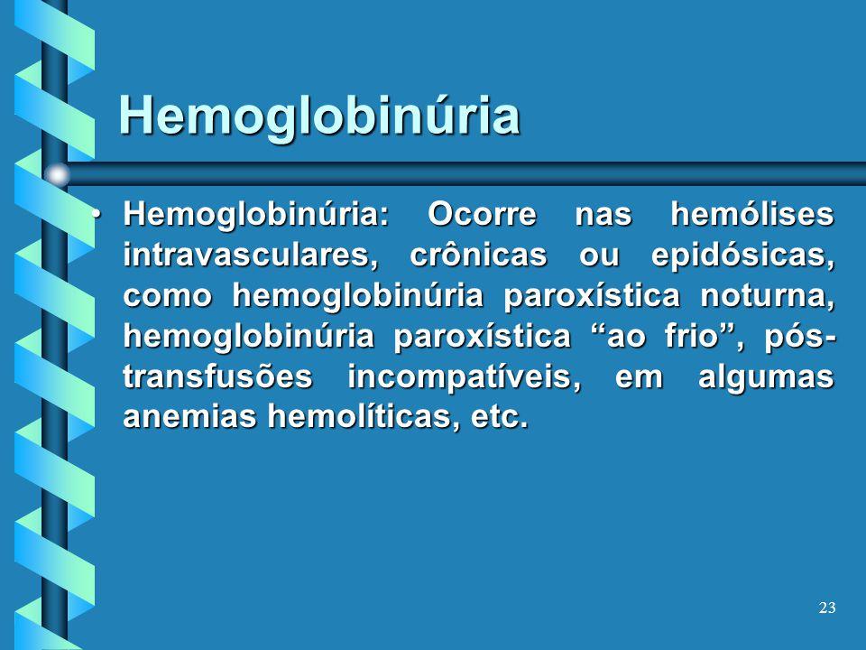 23 Hemoglobinúria Hemoglobinúria: Ocorre nas hemólises intravasculares, crônicas ou epidósicas, como hemoglobinúria paroxística noturna, hemoglobinúria paroxística ao frio, pós- transfusões incompatíveis, em algumas anemias hemolíticas, etc.Hemoglobinúria: Ocorre nas hemólises intravasculares, crônicas ou epidósicas, como hemoglobinúria paroxística noturna, hemoglobinúria paroxística ao frio, pós- transfusões incompatíveis, em algumas anemias hemolíticas, etc.
