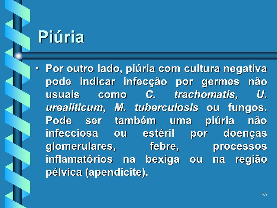 27 Piúria Por outro lado, piúria com cultura negativa pode indicar infecção por germes não usuais como C.