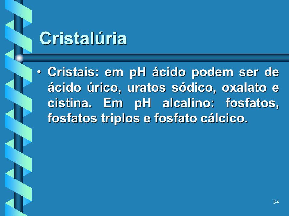 34 Cristalúria Cristais: em pH ácido podem ser de ácido úrico, uratos sódico, oxalato e cistina.