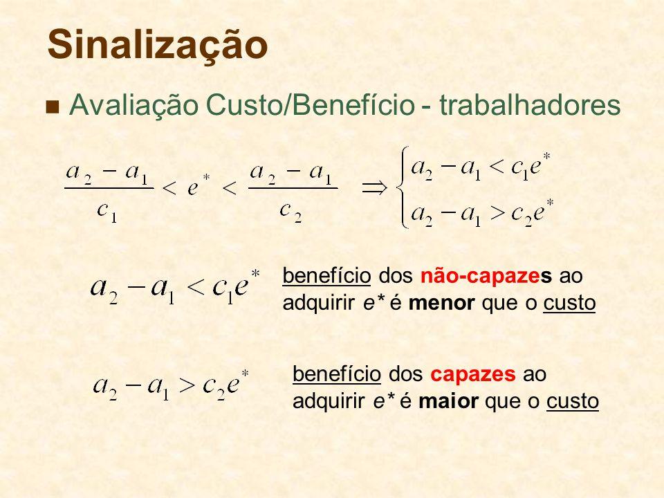 Sinalização Avaliação Custo/Benefício - trabalhadores benefício dos não-capazes ao adquirir e* é menor que o custo benefício dos capazes ao adquirir e* é maior que o custo