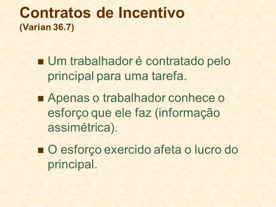 Contratos de Incentivo (Varian 36.7) Um trabalhador é contratado pelo principal para uma tarefa.