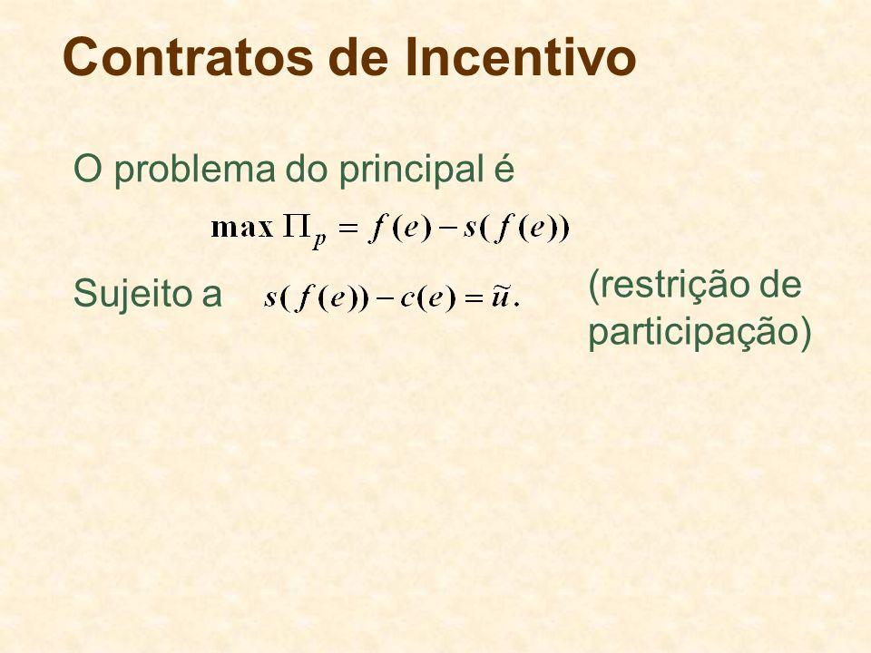 Contratos de Incentivo O problema do principal é Sujeito a (restrição de participação)