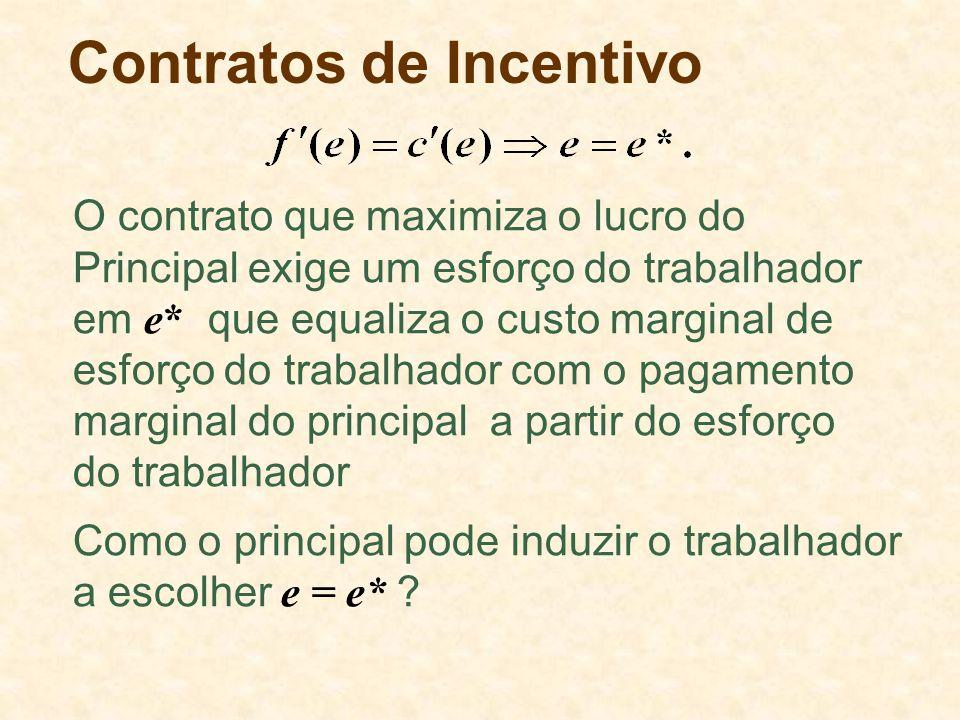 Contratos de Incentivo Como o principal pode induzir o trabalhador a escolher e = e* .