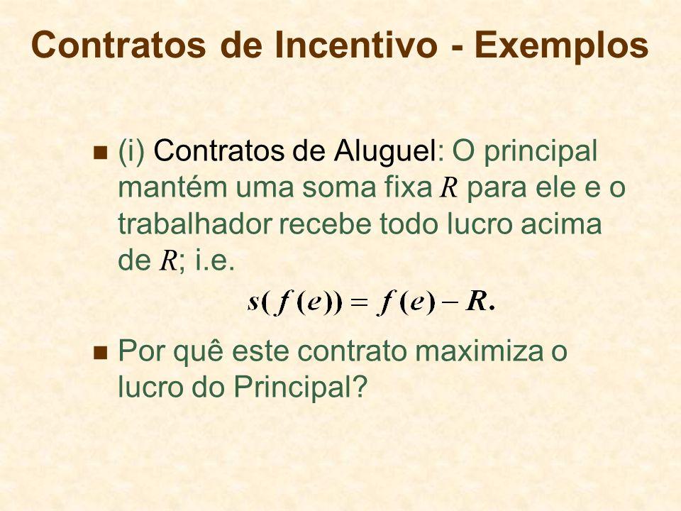 Contratos de Incentivo - Exemplos (i) Contratos de Aluguel: O principal mantém uma soma fixa R para ele e o trabalhador recebe todo lucro acima de R ; i.e.