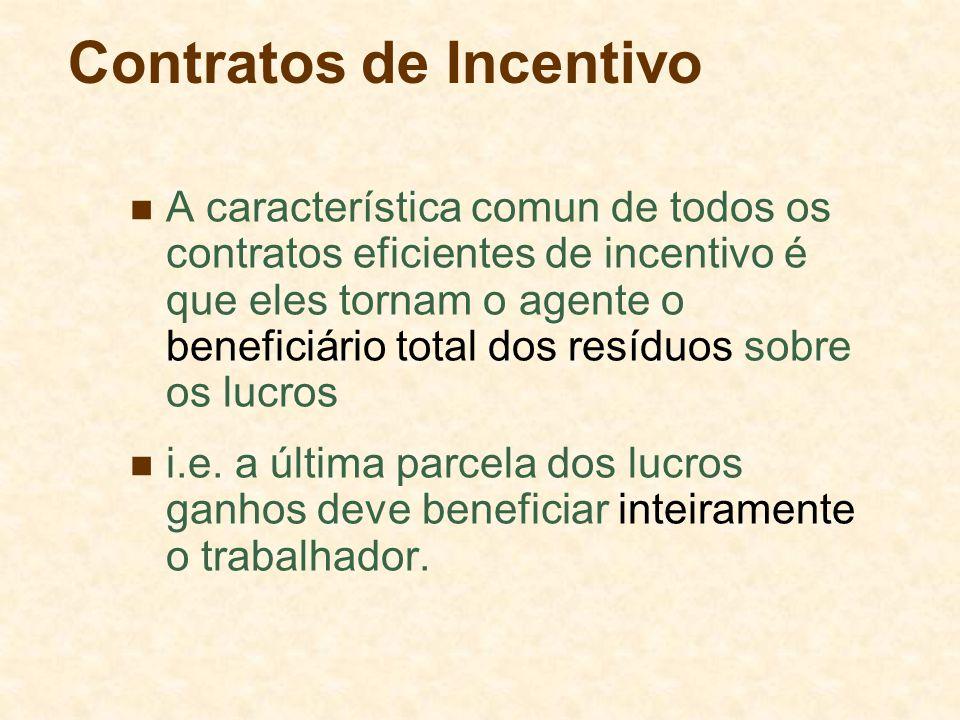 Contratos de Incentivo A característica comun de todos os contratos eficientes de incentivo é que eles tornam o agente o beneficiário total dos resíduos sobre os lucros i.e.