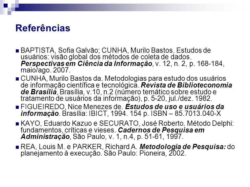 BAPTISTA, Sofia Galvão; CUNHA, Murilo Bastos. Estudos de usuários: visão global dos métodos de coleta de dados. Perspectivas em Ciência da Informação,