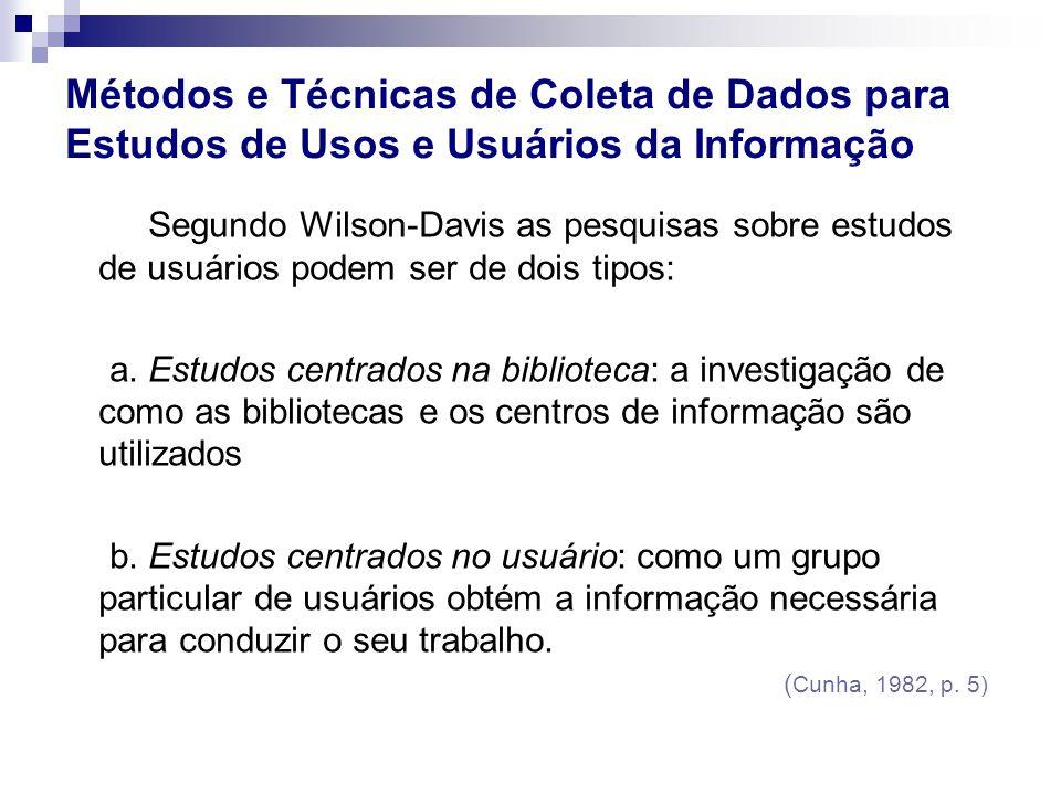 Segundo Wilson-Davis as pesquisas sobre estudos de usuários podem ser de dois tipos: a. Estudos centrados na biblioteca: a investigação de como as bib