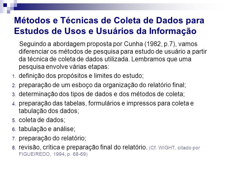 Seguindo a abordagem proposta por Cunha (1982, p.7), vamos diferenciar os métodos de pesquisa para estudo de usuário a partir da técnica de coleta de