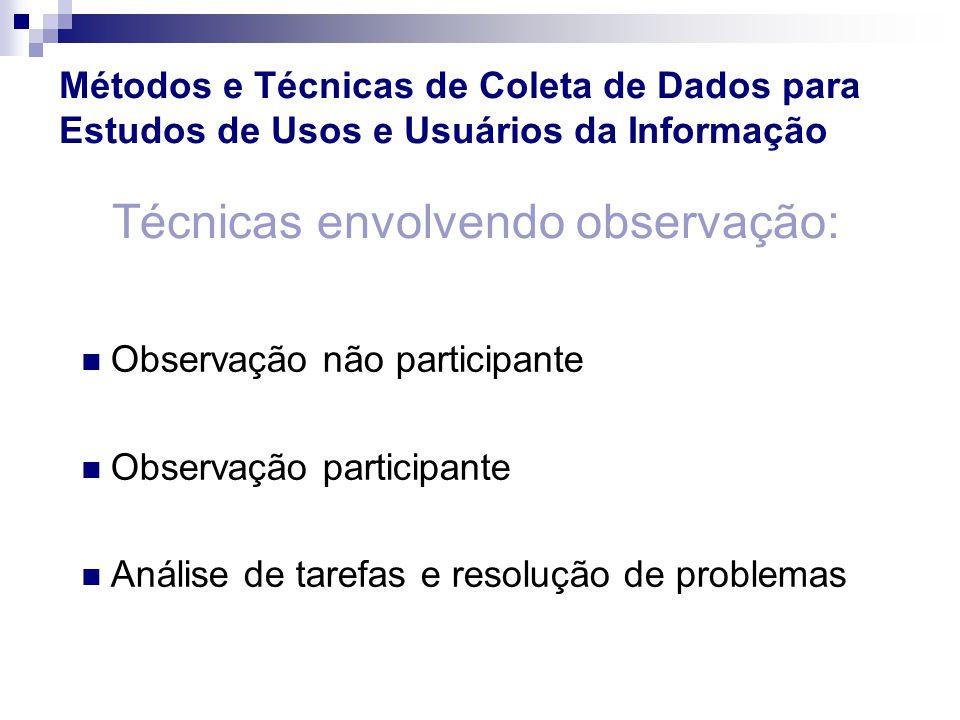 Observação não participante Observação participante Análise de tarefas e resolução de problemas Técnicas envolvendo observação: Métodos e Técnicas de