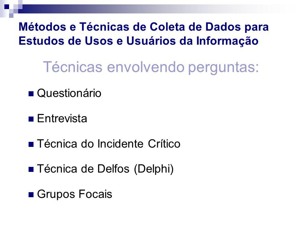 Questionário Entrevista Técnica do Incidente Crítico Técnica de Delfos (Delphi) Grupos Focais Técnicas envolvendo perguntas: Métodos e Técnicas de Col