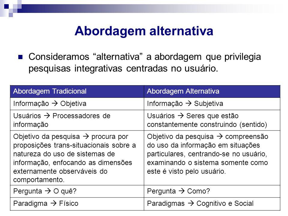 Abordagem alternativa Consideramos alternativa a abordagem que privilegia pesquisas integrativas centradas no usuário. Abordagem TradicionalAbordagem