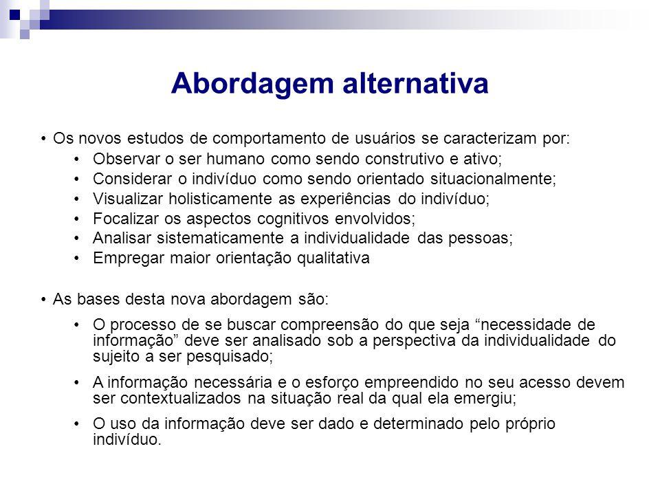 Abordagem alternativa Os novos estudos de comportamento de usuários se caracterizam por: Observar o ser humano como sendo construtivo e ativo; Conside