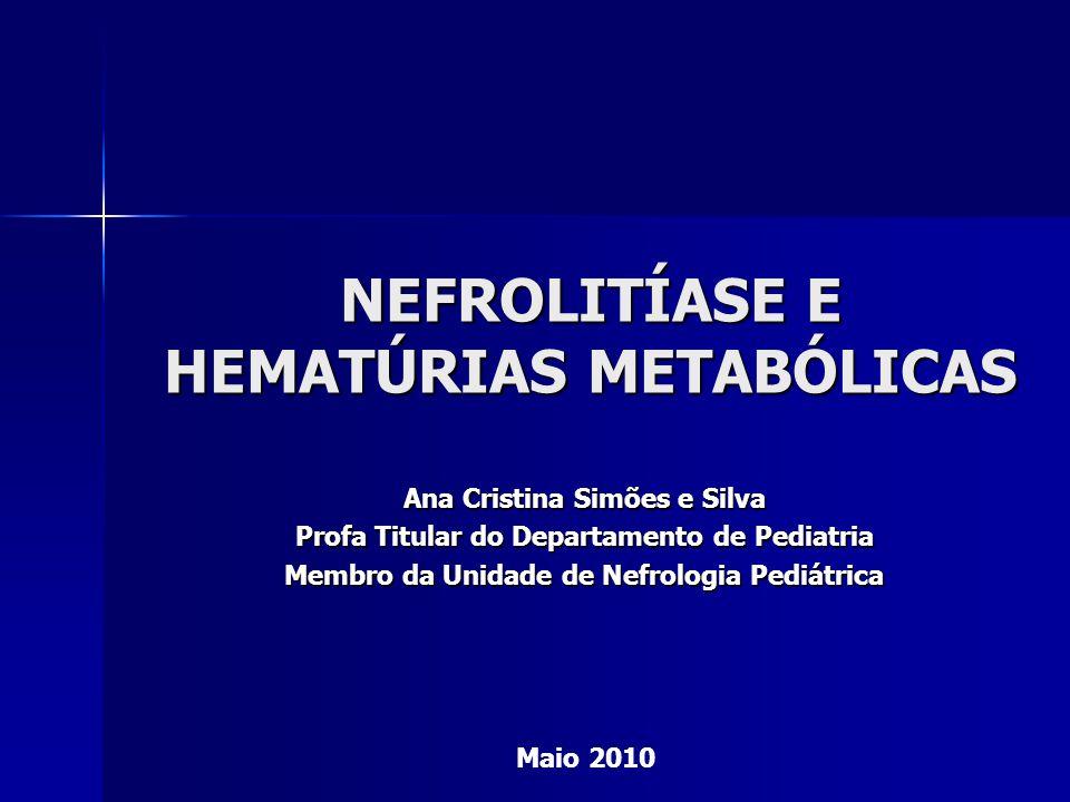 HIPOCITRATÚRIA IDIOPÁTICA 2° distúrbio metabólico mais frequente 2° distúrbio metabólico mais frequente –10 % associado calculose renal isoladamente e 60 % concomitante a outros fatores Urina de 24 horas: Urina de 24 horas: Valor normal: até 12 anos: 0,9 - 2,77 mmol /24 hValor normal: até 12 anos: 0,9 - 2,77 mmol /24 h ( 173 - 532 mg/24 h) ( 173 - 532 mg/24 h) > 12 anos: 1,3 – 6 mmol/24 h > 12 anos: 1,3 – 6 mmol/24 h ( 250 – 1152 mg/24 h) ( 250 – 1152 mg/24 h) Hipocitratúria: < 0,9 mmol/245 hHipocitratúria: < 0,9 mmol/245 h Avaliar referência de cada laboratórioAvaliar referência de cada laboratório