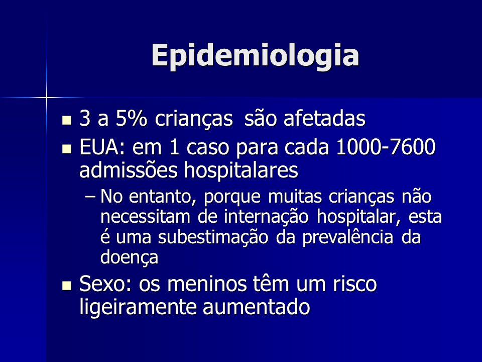 Epidemiologia 3 a 5% crianças são afetadas 3 a 5% crianças são afetadas EUA: em 1 caso para cada 1000-7600 admissões hospitalares EUA: em 1 caso para