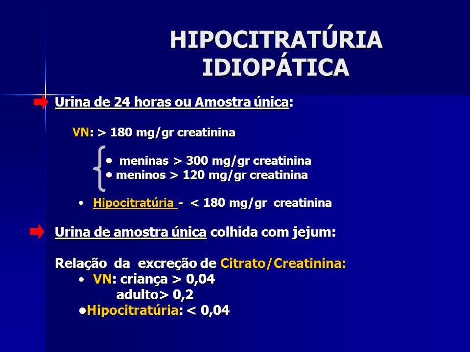 HIPOCITRATÚRIA IDIOPÁTICA Urina de 24 horas ou Amostra única: VN: > 180 mg/gr creatinina meninas > 300 mg/gr creatinina meninas > 300 mg/gr creatinina meninos > 120 mg/gr creatinina meninos > 120 mg/gr creatinina Hipocitratúria - < 180 mg/gr creatininaHipocitratúria - < 180 mg/gr creatinina Urina de amostra única colhida com jejum: Relação da excreção de Citrato/Creatinina: VN: criança > 0,04VN: criança > 0,04 adulto> 0,2 adulto> 0,2 Hipocitratúria: < 0,04Hipocitratúria: < 0,04