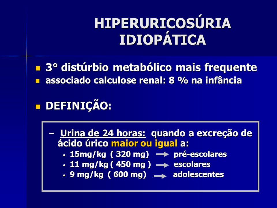 HIPERURICOSÚRIA IDIOPÁTICA 3° distúrbio metabólico mais frequente 3° distúrbio metabólico mais frequente associado calculose renal: 8 % na infância associado calculose renal: 8 % na infância DEFINIÇÃO: DEFINIÇÃO: – Urina de 24 horas: quando a excreção de ácido úrico maior ou igual a: 15mg/kg ( 320 mg) pré-escolares 15mg/kg ( 320 mg) pré-escolares 11 mg/kg ( 450 mg ) escolares 11 mg/kg ( 450 mg ) escolares 9 mg/kg ( 600 mg) adolescentes 9 mg/kg ( 600 mg) adolescentes