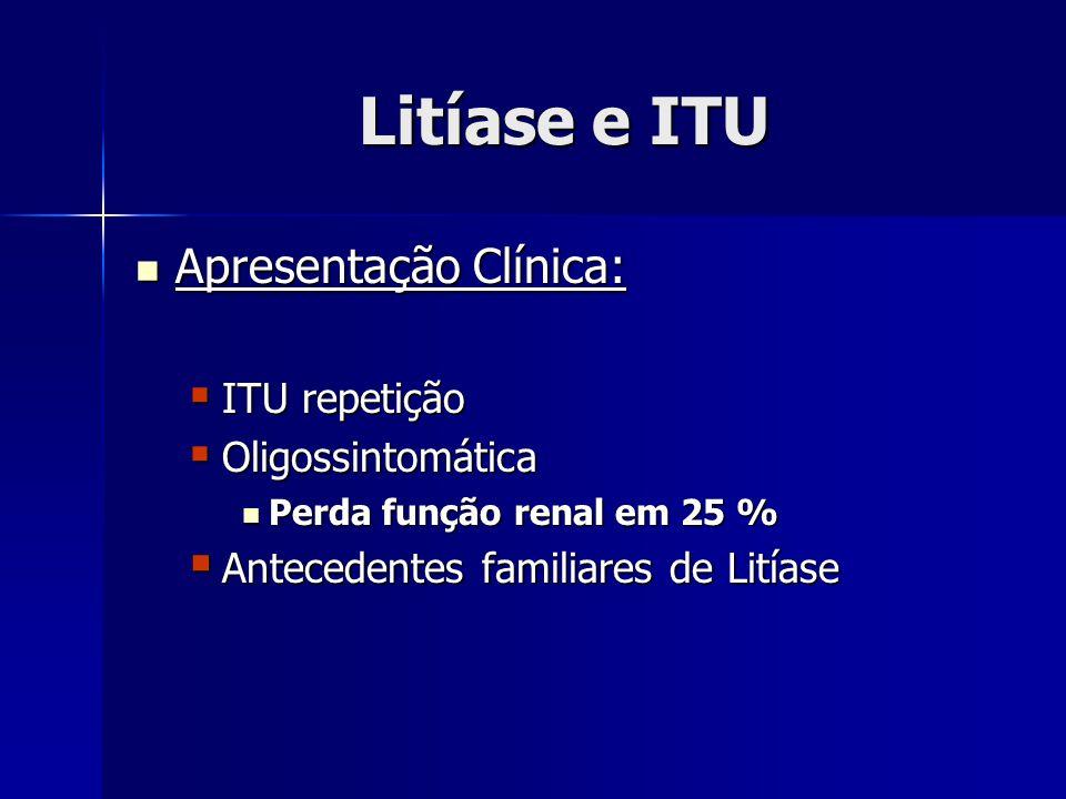 Litíase e ITU Apresentação Clínica: Apresentação Clínica: ITU repetição ITU repetição Oligossintomática Oligossintomática Perda função renal em 25 % Perda função renal em 25 % Antecedentes familiares de Litíase Antecedentes familiares de Litíase