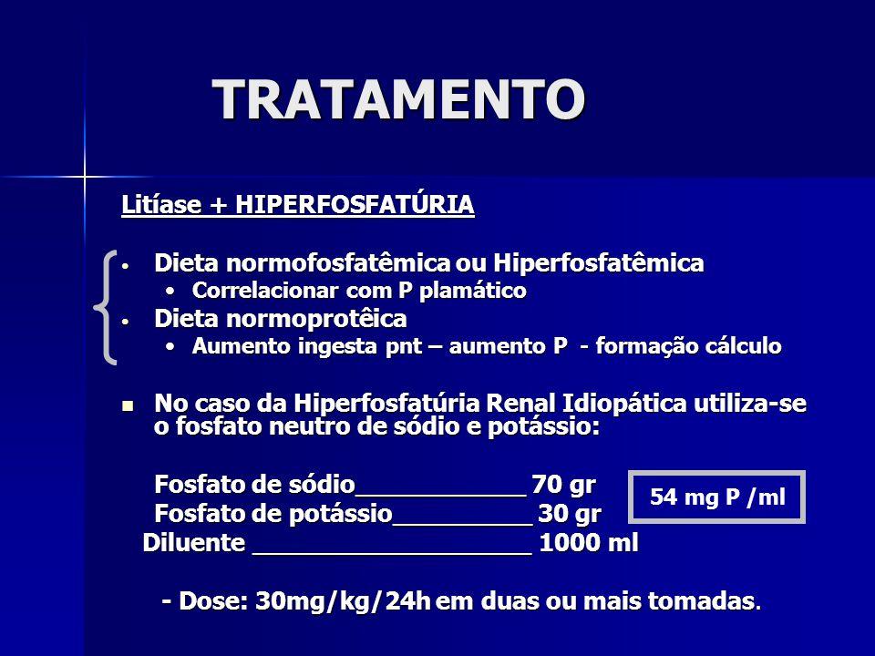 TRATAMENTO Litíase + HIPERFOSFATÚRIA Dieta normofosfatêmica ou Hiperfosfatêmica Dieta normofosfatêmica ou Hiperfosfatêmica Correlacionar com P plamáticoCorrelacionar com P plamático Dieta normoprotêica Dieta normoprotêica Aumento ingesta pnt – aumento P - formação cálculoAumento ingesta pnt – aumento P - formação cálculo No caso da Hiperfosfatúria Renal Idiopática utiliza-se o fosfato neutro de sódio e potássio: No caso da Hiperfosfatúria Renal Idiopática utiliza-se o fosfato neutro de sódio e potássio: Fosfato de sódio___________ 70 gr Fosfato de potássio_________ 30 gr Diluente __________________ 1000 ml Diluente __________________ 1000 ml - Dose: 30mg/kg/24h em duas ou mais tomadas.