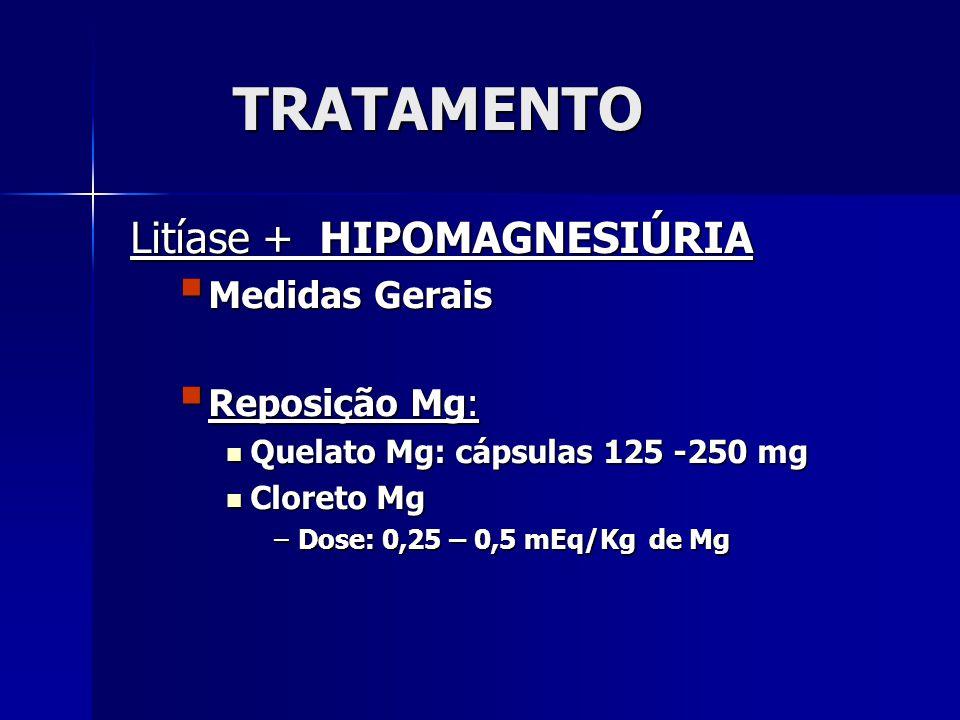 TRATAMENTO Litíase + HIPOMAGNESIÚRIA Medidas Gerais Medidas Gerais Reposição Mg: Reposição Mg: Quelato Mg: cápsulas 125 -250 mg Quelato Mg: cápsulas 125 -250 mg Cloreto Mg Cloreto Mg –Dose: 0,25 – 0,5 mEq/Kg de Mg