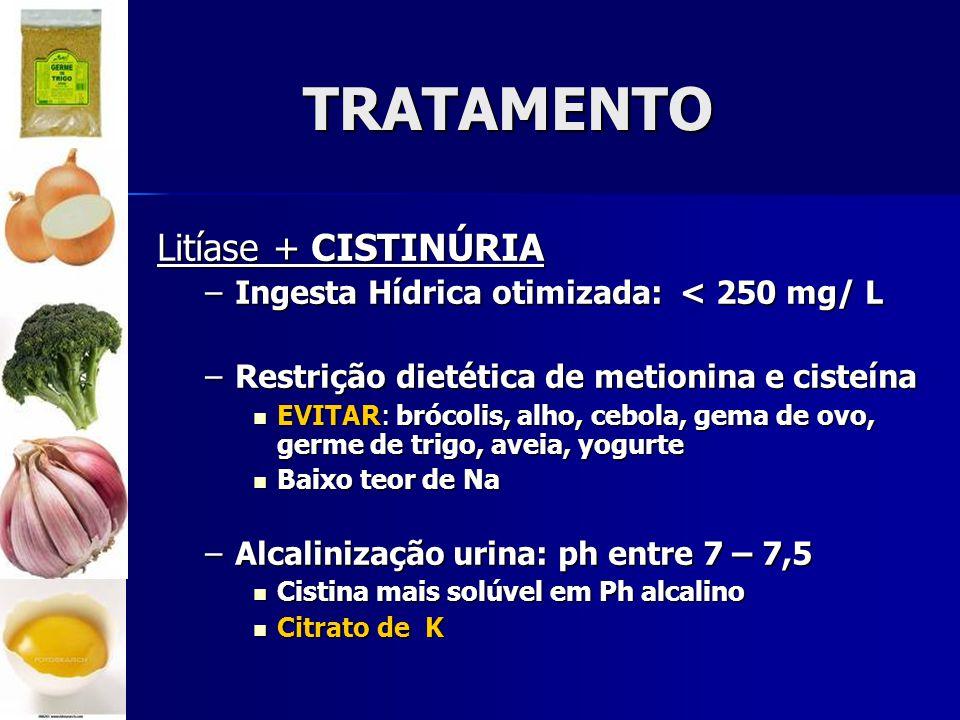 TRATAMENTO Litíase + CISTINÚRIA –Ingesta Hídrica otimizada: < 250 mg/ L –Restrição dietética de metionina e cisteína EVITAR: brócolis, alho, cebola, gema de ovo, germe de trigo, aveia, yogurte EVITAR: brócolis, alho, cebola, gema de ovo, germe de trigo, aveia, yogurte Baixo teor de Na Baixo teor de Na –Alcalinização urina: ph entre 7 – 7,5 Cistina mais solúvel em Ph alcalino Cistina mais solúvel em Ph alcalino Citrato de K Citrato de K