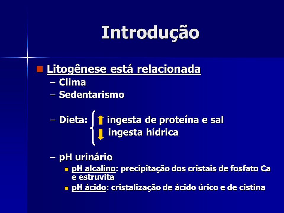 Introdução Litogênese está relacionada Litogênese está relacionada –Clima –Sedentarismo –Dieta: ingesta de proteína e sal ingesta hídrica ingesta hídr