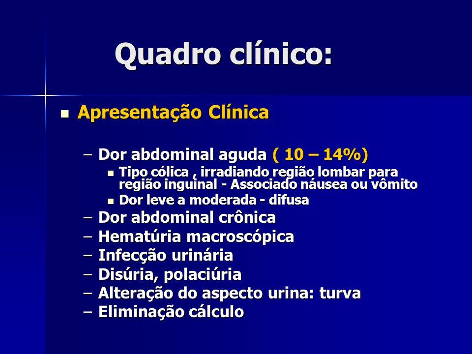Quadro clínico: Apresentação Clínica Apresentação Clínica –Dor abdominal aguda ( 10 – 14%) Tipo cólica, irradiando região lombar para região inguinal - Associado náusea ou vômito Tipo cólica, irradiando região lombar para região inguinal - Associado náusea ou vômito Dor leve a moderada - difusa Dor leve a moderada - difusa –Dor abdominal crônica –Hematúria macroscópica –Infecção urinária –Disúria, polaciúria –Alteração do aspecto urina: turva –Eliminação cálculo