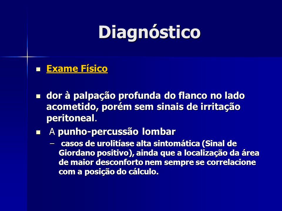 Diagnóstico Exame Físico Exame Físico dor à palpação profunda do flanco no lado acometido, porém sem sinais de irritação peritoneal. dor à palpação pr