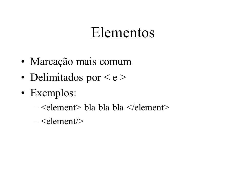 Elementos Marcação mais comum Delimitados por Exemplos: – bla bla bla –