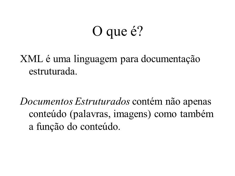 O que é.XML é uma linguagem para documentação estruturada.