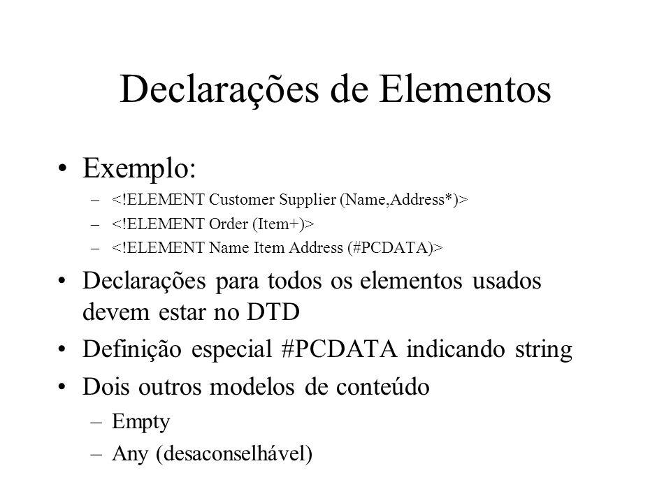 Declarações de Elementos Exemplo: – Declarações para todos os elementos usados devem estar no DTD Definição especial #PCDATA indicando string Dois outros modelos de conteúdo –Empty –Any (desaconselhável)