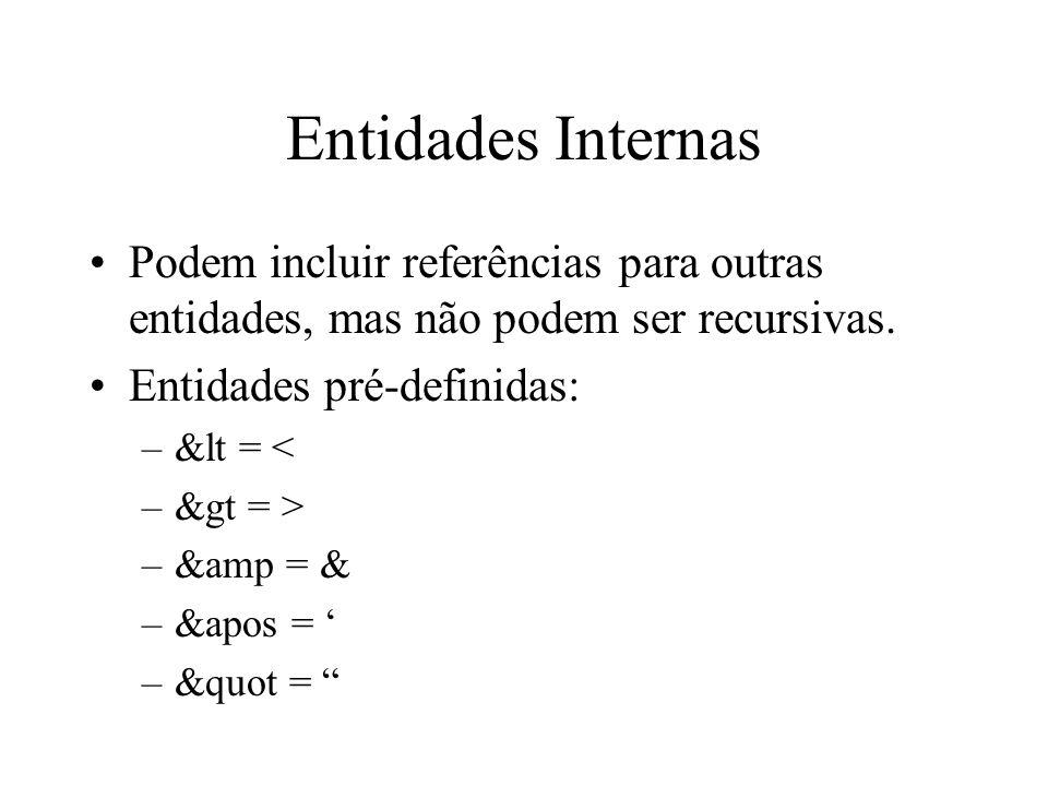 Entidades Internas Podem incluir referências para outras entidades, mas não podem ser recursivas.