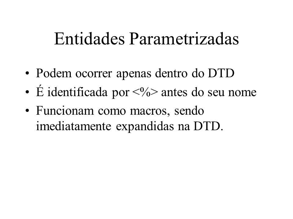 Entidades Parametrizadas Podem ocorrer apenas dentro do DTD É identificada por antes do seu nome Funcionam como macros, sendo imediatamente expandidas na DTD.
