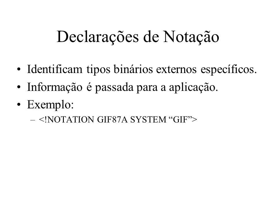 Declarações de Notação Identificam tipos binários externos específicos.