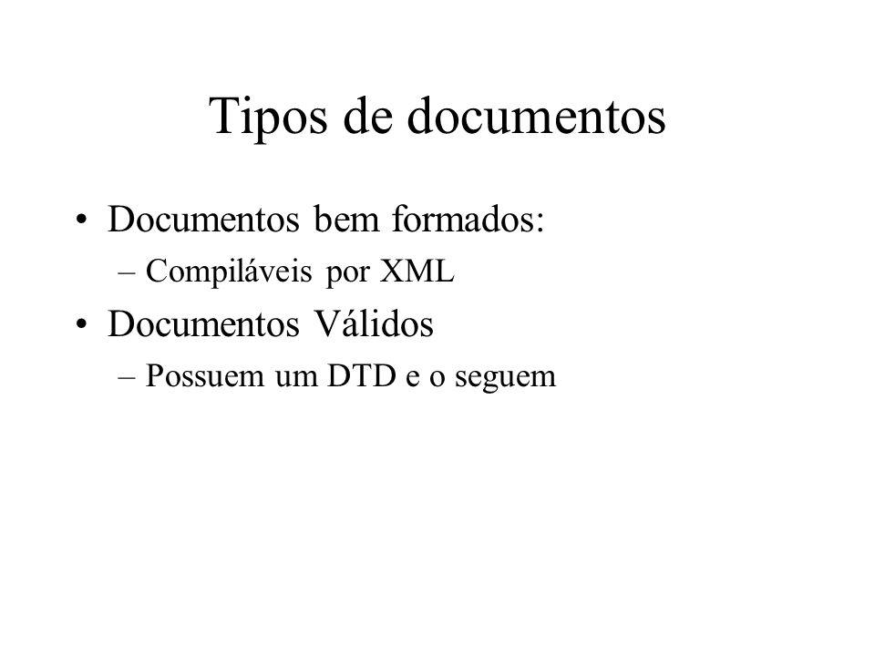 Tipos de documentos Documentos bem formados: –Compiláveis por XML Documentos Válidos –Possuem um DTD e o seguem