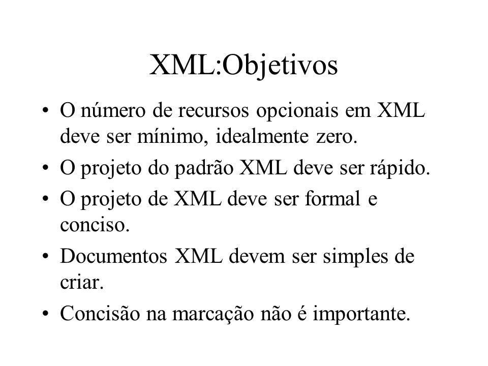 XML:Objetivos O número de recursos opcionais em XML deve ser mínimo, idealmente zero.