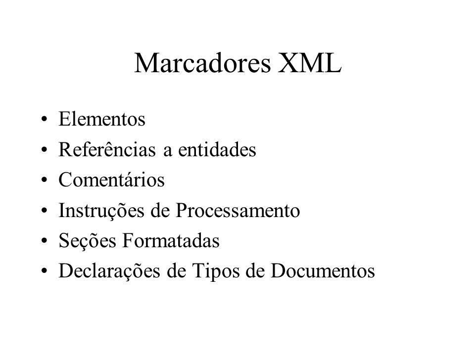 Marcadores XML Elementos Referências a entidades Comentários Instruções de Processamento Seções Formatadas Declarações de Tipos de Documentos