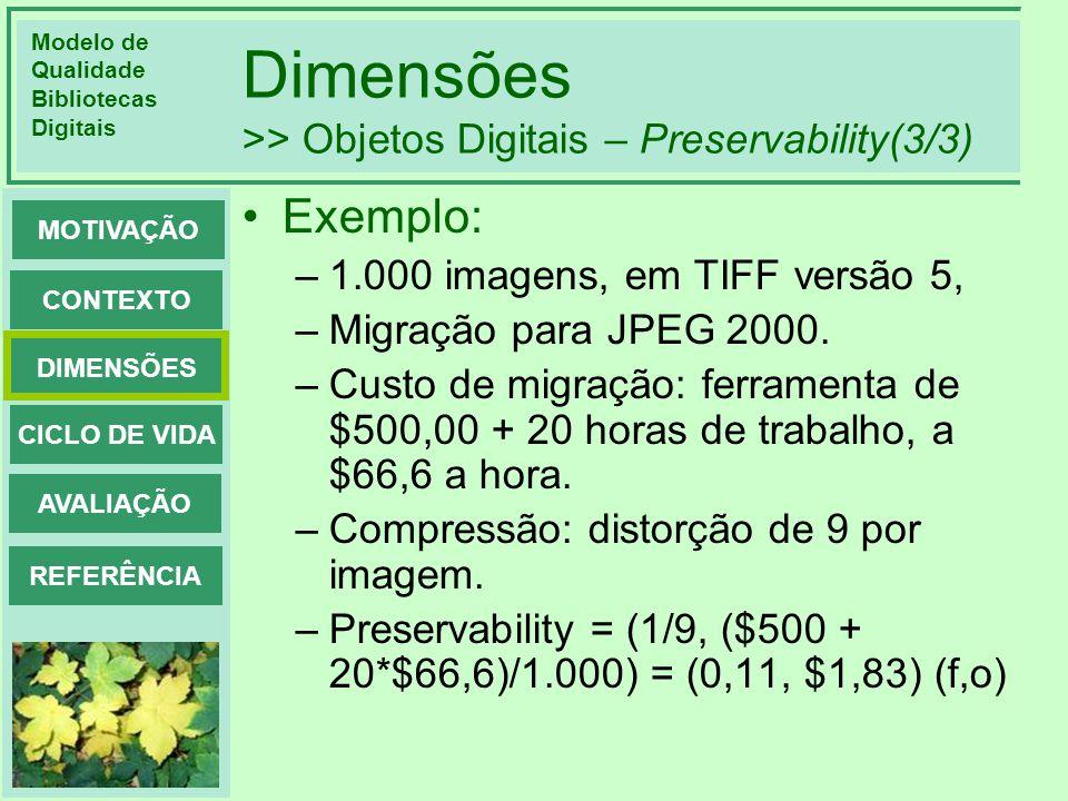 Modelo de Qualidade Bibliotecas Digitais DIMENSÕES CONTEXTO MOTIVAÇÃO CICLO DE VIDA AVALIAÇÃO REFERÊNCIA Dimensões >> Objetos Digitais – Preservabilit