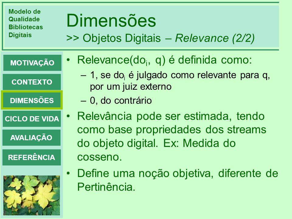 Modelo de Qualidade Bibliotecas Digitais DIMENSÕES CONTEXTO MOTIVAÇÃO CICLO DE VIDA AVALIAÇÃO REFERÊNCIA Dimensões >> Objetos Digitais – Relevance (2/